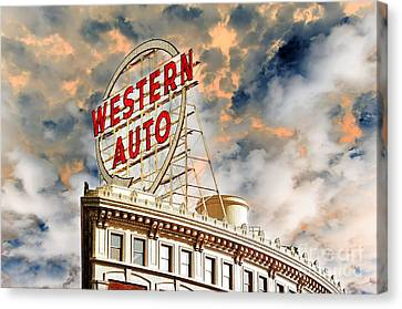 Western Auto Sign Downtown Kansas City 2 Canvas Print