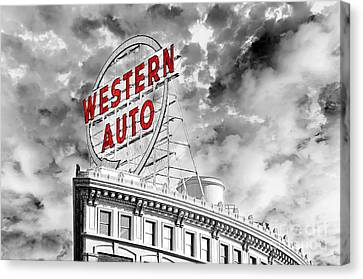 Western Auto Sign Downtown Kansas City B W Canvas Print by Andee Design