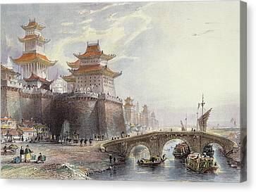 Western Gate Of Peking, C.1850 Canvas Print by Thomas Allom