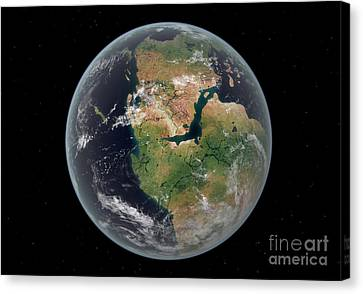 Merging Canvas Print - Western Hemisphere Of The Earth by Walter Myers