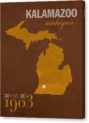 Western Michigan University Broncos Kalamazoo Mi College Town State Map Poster Series No 126 Canvas Print by Design Turnpike