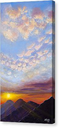 Canvas Print featuring the painting Western Sunset by Margaret Bobb
