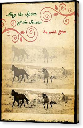 Western Themed Christmas Card Wyoming Spirit Canvas Print