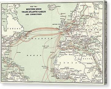 Western Union Transatlantic Cables Canvas Print by Library Of Congress, Geography And Map Division