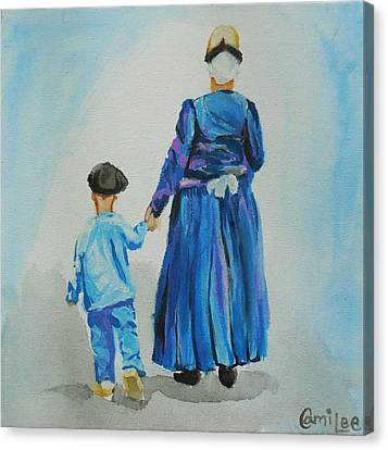 Westfriese Woman And Boy Canvas Print