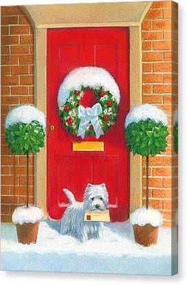 Christmas Dog Canvas Print - Westie Post by David Price