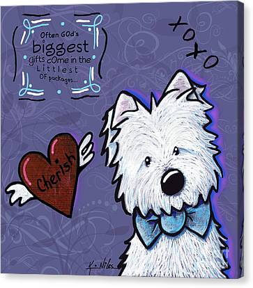 Westie Wall Canvas Print by Kim Niles