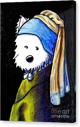 Westie With Pearl Earring Canvas Print by Kim Niles