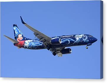 Westjet 737-8ct C-gwsz Magic Plane Phoenix Sky Harbor February 8 2015 Canvas Print by Brian Lockett