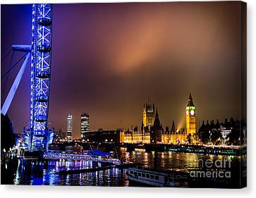 Westminster And Eye Night Glow Canvas Print by Matt Malloy