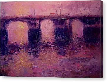 Westminster Bridge In Winter Light Canvas Print by R W Goetting