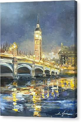 Lamp Post Canvas Print - Westminster Bridge by Luke Karcz