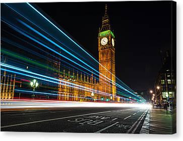 Westminster Light Trails Canvas Print by Matt Malloy