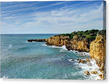 Westward Ho Sailing Around Castelo Points Algarve Portugal Canvas Print by John Kelly