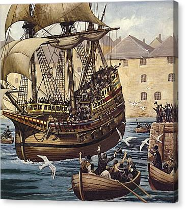 Westward Ho  The Mayflower Leaves Plymouth Canvas Print by Mike White