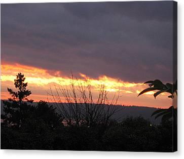 Westward Sunbreak - Seattle Canvas Print by David Trotter