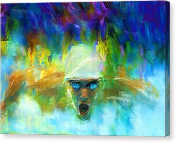 Swimmers Canvas Print - Wet And Wild by Lourry Legarde