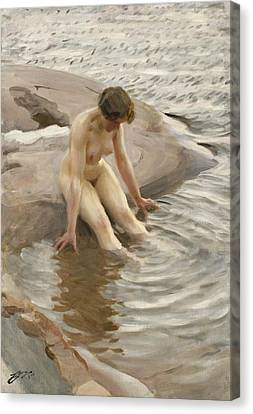 Wet Canvas Print by Anders Zorn
