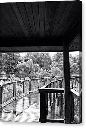 Boardwalk In Black And White 4 Canvas Print by K Simmons Luna