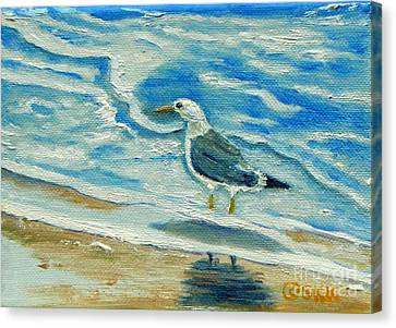 Canvas Print featuring the painting Wet Feet - Shore Bird by Shelia Kempf