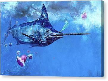 Wet Fly And Blue Marlin, Bill Wrapped Canvas Print by Stanley Meltzoff / Silverfish Press