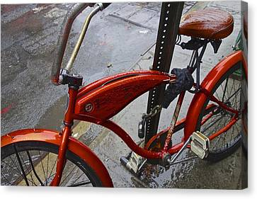 Wet Orange Bike   Nyc Canvas Print