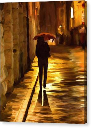 Wet Rainy Night Canvas Print by Michael Pickett