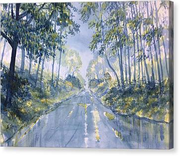Wet Road In Woldgate Canvas Print