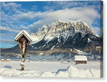 Wayside Canvas Print - Wetterstein Mountain Chain With Mt by Martin Zwick