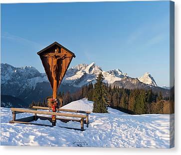 Wayside Canvas Print - Wetterstein Mountain Range In Winter by Martin Zwick