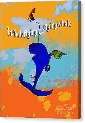 Whale Flying Flying Whale Canvas Print by Mukta Gupta