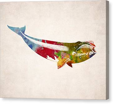 Whale Illustration Design Canvas Print by World Art Prints And Designs