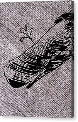 Whale On Burlap Canvas Print