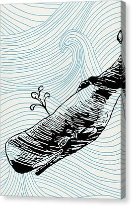 Whale On Wave Paper Canvas Print