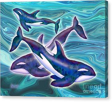 Canvas Print featuring the mixed media Whale Whimsey by Teresa Ascone