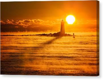 Whaleback In The Sea Smoke Canvas Print by Jeff Sinon