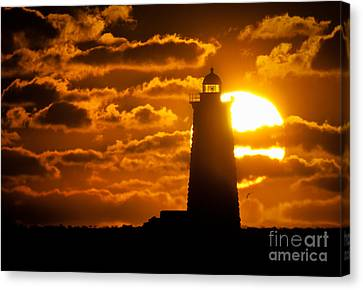 Whaleback Lighthouse Sunrise Canvas Print by Scott Thorp