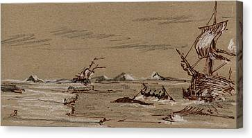 Marine Mammals Canvas Print - Whaler Ship by Juan  Bosco