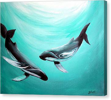 Canvas Print featuring the painting Whales by Bernadette Krupa