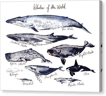 Whales Of The World Canvas Print by Laura Row