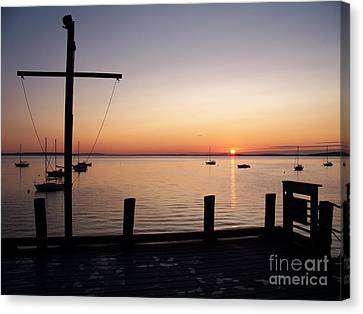 Wharf At Bayside Canvas Print by Ursula Lawrence