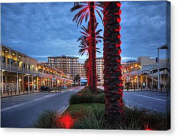 Wharf Red Lighted Trees Canvas Print by Michael Thomas