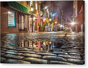 Wharf Street Puddle Canvas Print by Benjamin Williamson