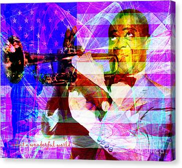 What A Wonderful World Louis Armstrong With Flag 20141218 V1 With Text M128 Canvas Print by Wingsdomain Art and Photography