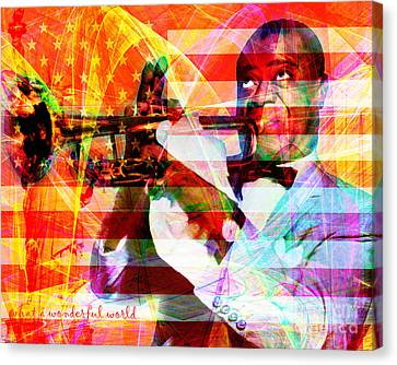 What A Wonderful World Louis Armstrong With Flag And Statue Of Liberty 20141218 With Text Canvas Print by Wingsdomain Art and Photography