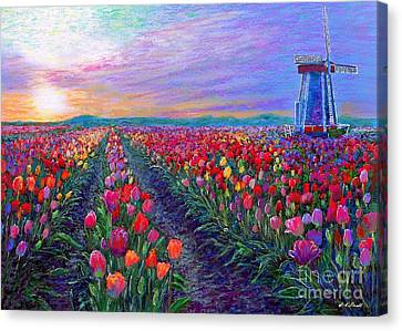 Impressionist Landscape Canvas Print -  Tulip Fields, What Dreams May Come by Jane Small