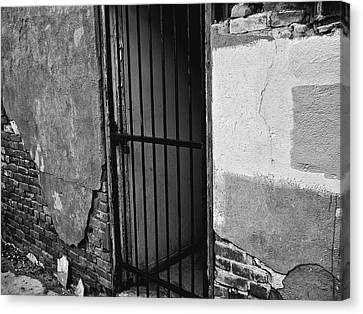 Canvas Print featuring the photograph What Horrors Lie Beyond This Entrance - Bw by Trever Miller