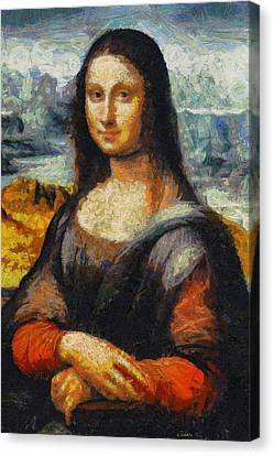 Canvas Print featuring the painting What If Vincent Van Gogh Had Painted Mona Lisa? by Kai Saarto