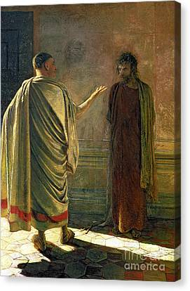 What Is Truth    Christ And Pilate Canvas Print by Nikolai Nikolaevich Ge