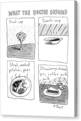 Four Strawberries Canvas Print - What The Doctor Ordered by Roz Chast